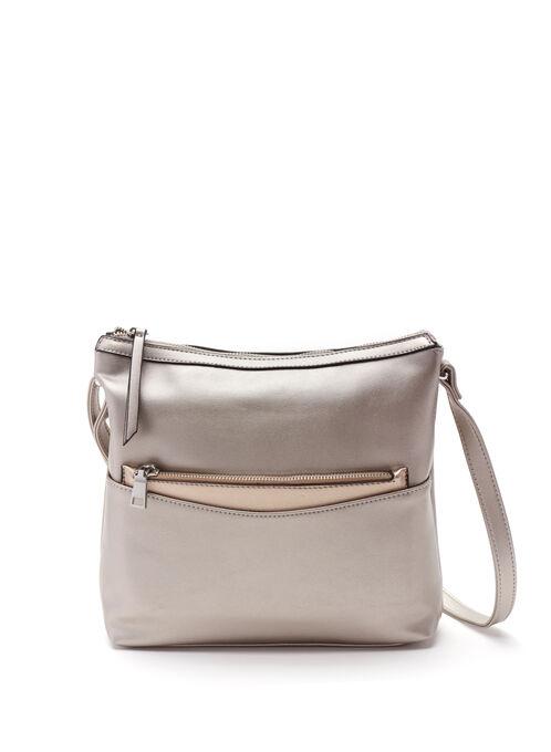 Metallic Crossbody Bag with Contrast Wallet, Gold, hi-res