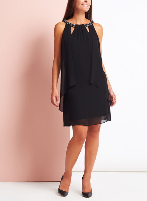 Link Chain Embellished Chiffon Dress, Black, hi-res
