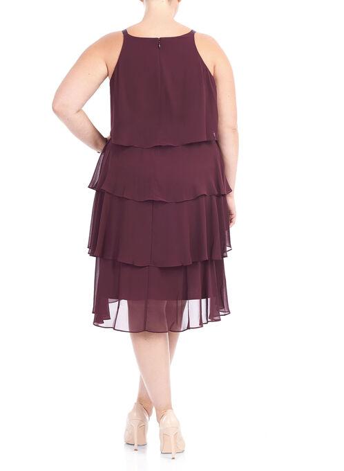 Sleeveless Multi-Tiered Chiffon Dress, Red, hi-res