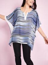 Stripe Print Poncho Blouse, , hi-res