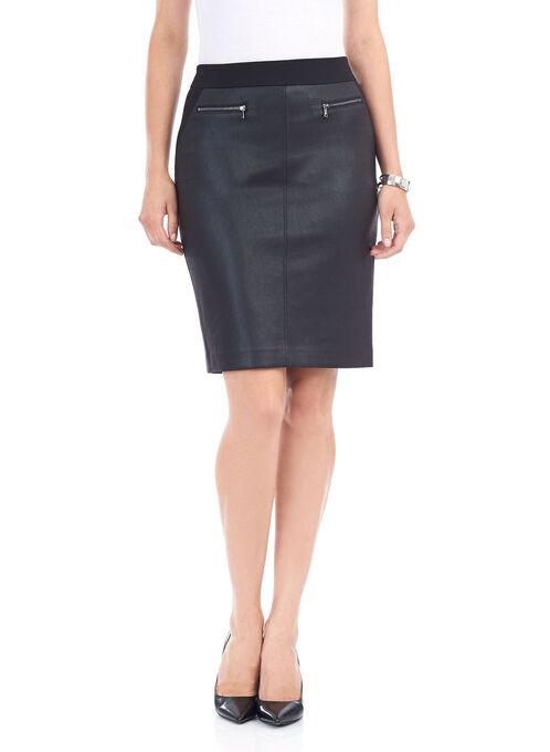 Short Ponte Faux-leather Trim Skirt, Black, hi-res