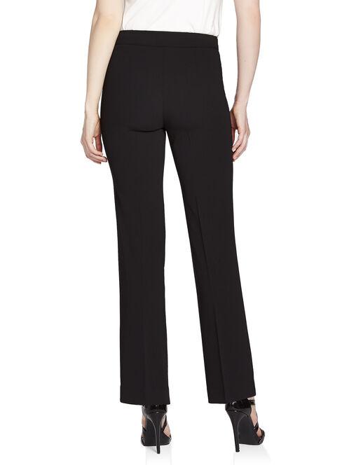 Textured Drawstring Waist Straight Leg Pants, Black, hi-res