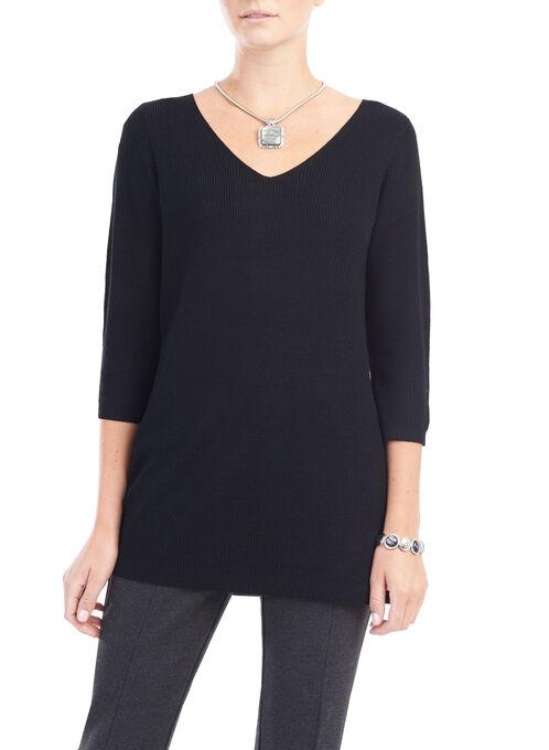 3/4 Sleeve Knit Tunic Top, Black, hi-res