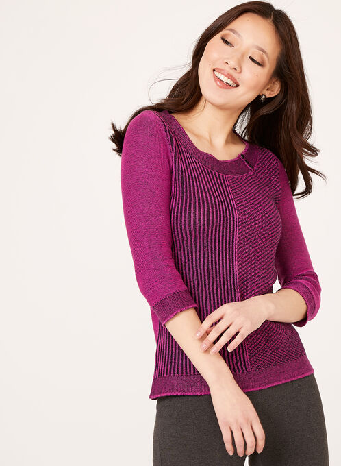 3/4 Sleeve Scoop Neck Sweater, Blue, hi-res