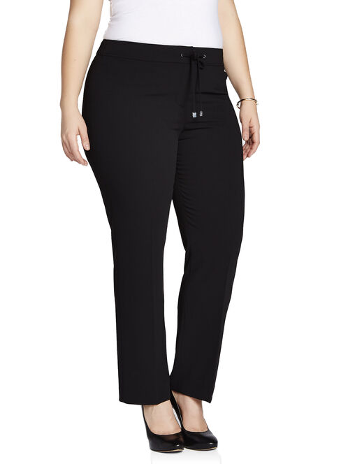 Signature Fit Drawstring Waist Straight Leg Pants, Black, hi-res