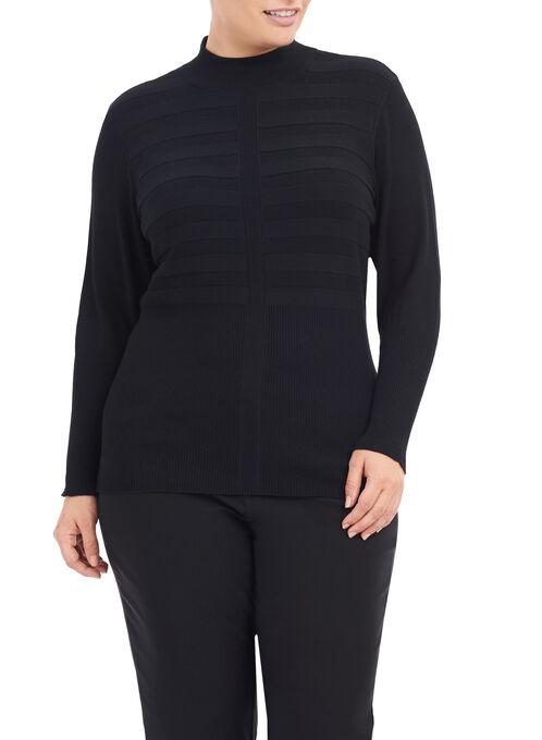 Ribbed Mock Neck Sweater, Black, hi-res