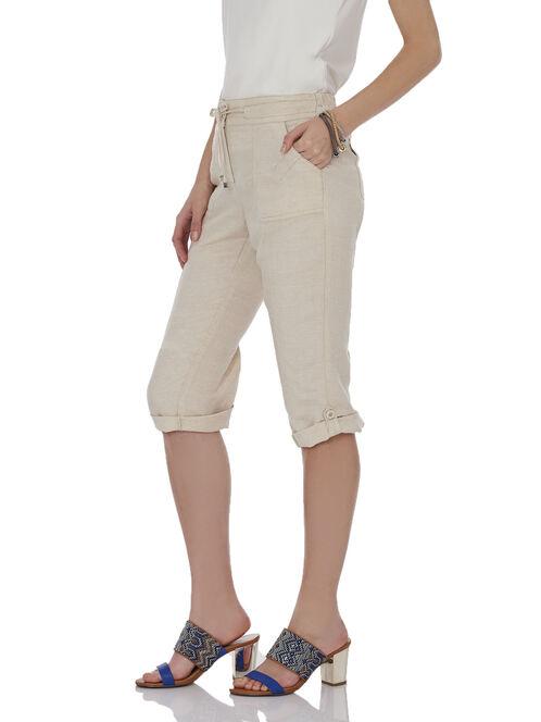 Linen Straight Leg Capri Pants, Off White, hi-res