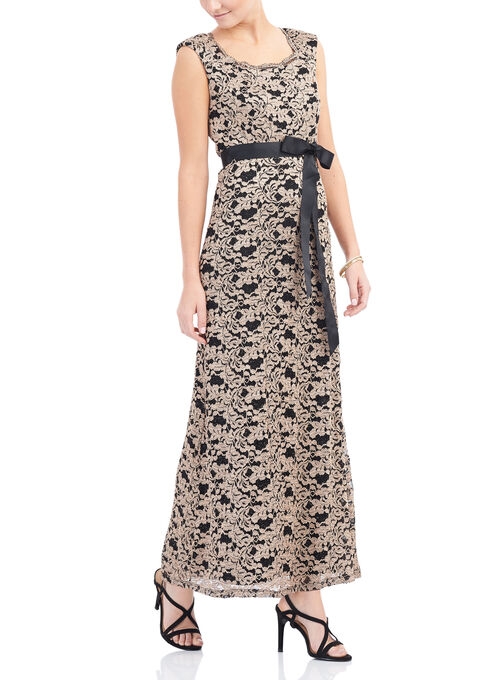 Scalloped Neck Lace Dress, Black, hi-res