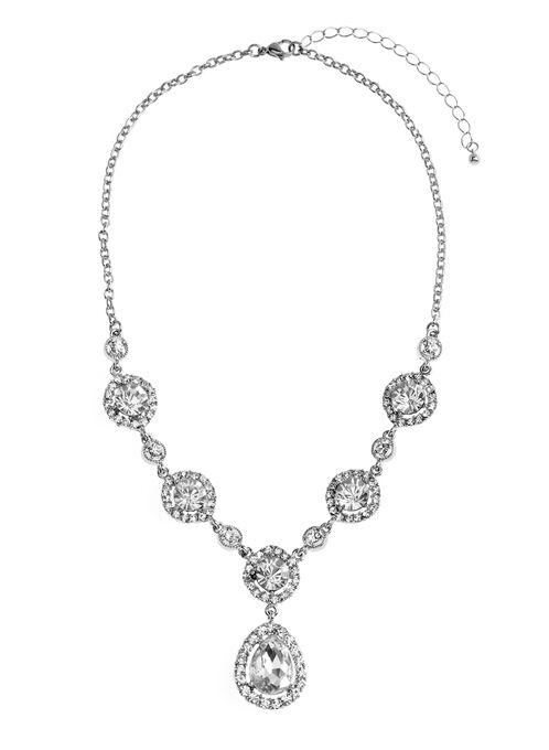 Crystal Teardrop Pendant Necklace, Silver, hi-res