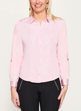 Tab Detail Button Down Blouse, Pink, hi-res