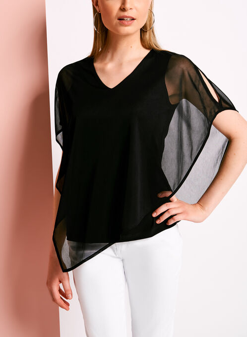 Cold Shoulder Mesh Poncho Blouse, Black, hi-res