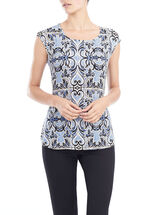 Cap Sleeve Baroque Top, Blue, hi-res