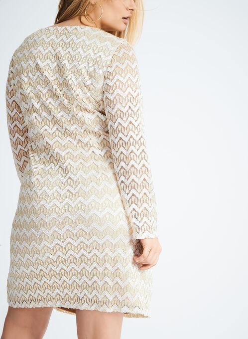 Long Sleeve Metallic Shift Dress, Gold, hi-res
