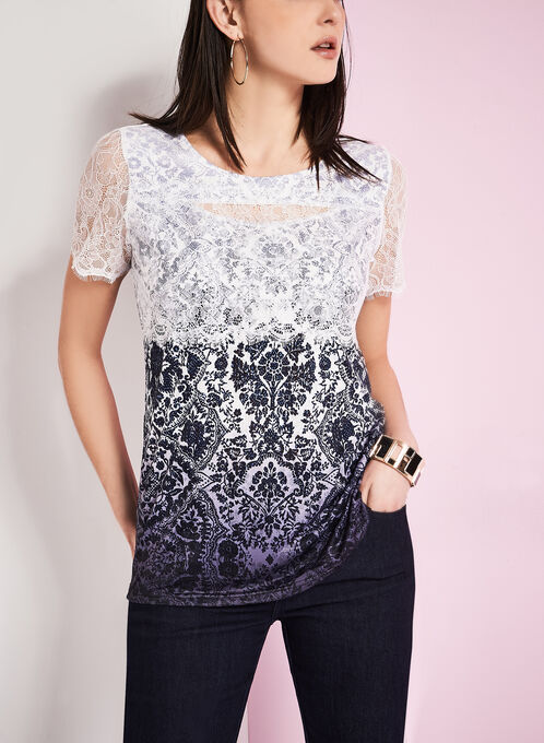 Lace Overlay Floral Print T-Shirt, Blue, hi-res