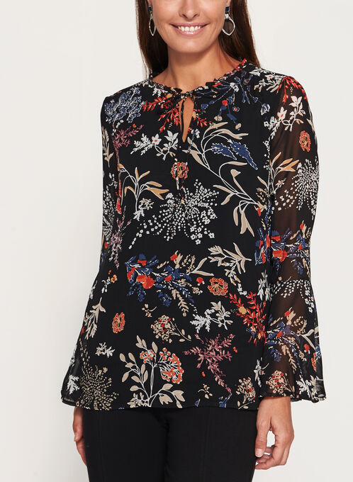 Floral Print Bell Sleeve Top, Black, hi-res