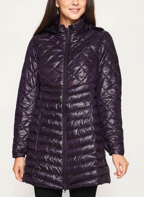 Lightweight Quilted Packable Coat, Purple, hi-res