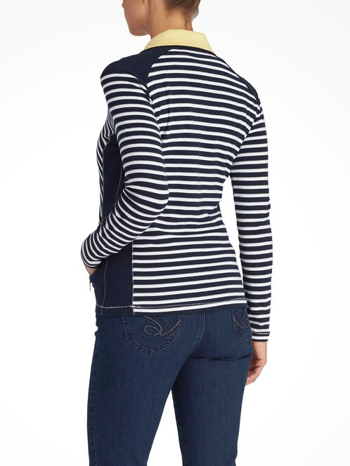 Glitter Striped Zip-Up Cardigan, Blue, hi-res