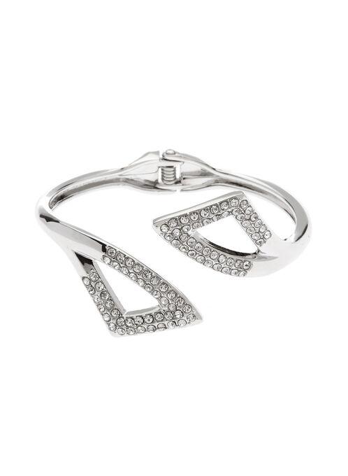 Crystal Embellished Cutout Bangle, Silver, hi-res
