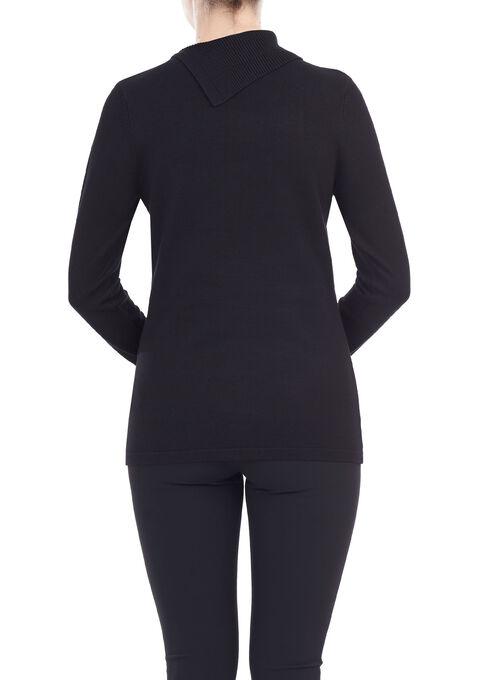 Colour Block Knit Top, Black, hi-res