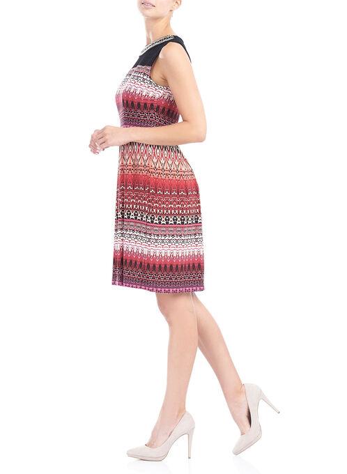 Sleeveless Abstract Print Dress, Black, hi-res