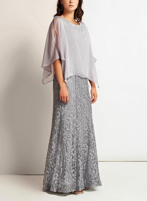 Sequin Lace Embellished Trim Dress, Silver, hi-res
