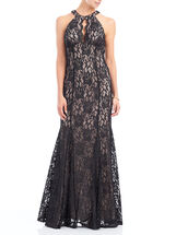 Scalloped Lace Cleo Neck Gown, Black, hi-res