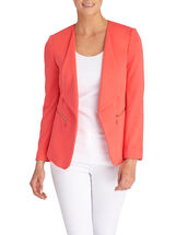 Zipper Trim Drapey Collar Jacket, Orange, hi-res