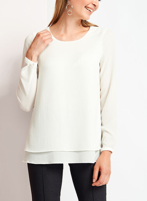 Long Sleeve Double Layer Chiffon Blouse, Off White, hi-res