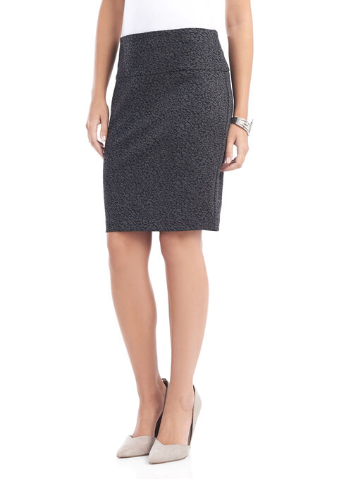 Printed Tummy Control Pencil Skirt , Black, hi-res