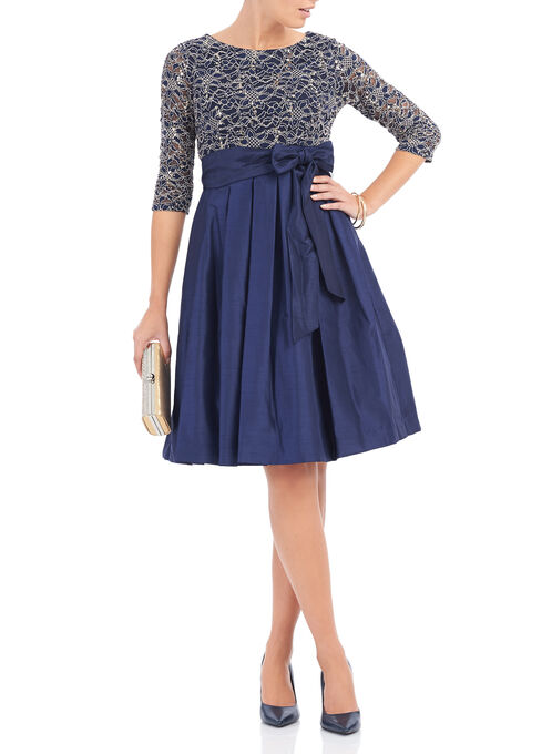 Sequined Lace & Taffeta Dress, Blue, hi-res