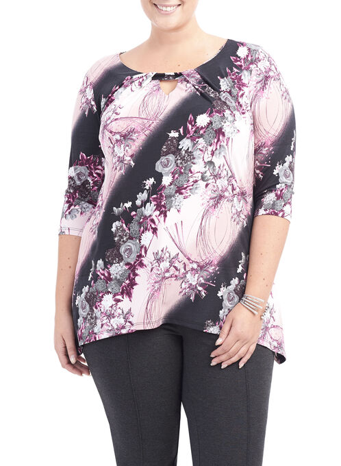 3/4 Sleeve Printed Tunic Top, Red, hi-res