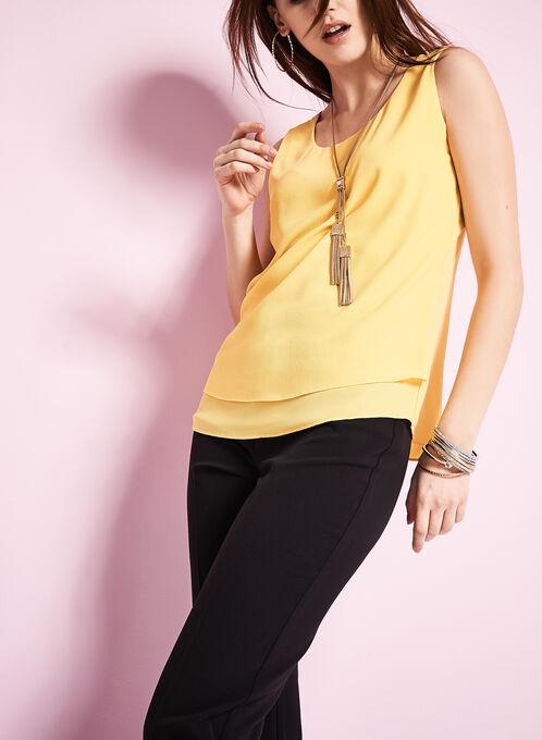 Sleeveless Chiffon Layered Blouse, Yellow, hi-res