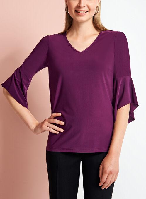 3/4 Bell Sleeve Top, Purple, hi-res