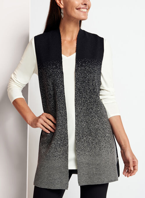 Sleeveless Knit Cardigan , Grey, hi-res
