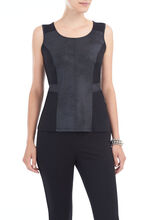 Scoop Neck Pleather Front Top, Black, hi-res