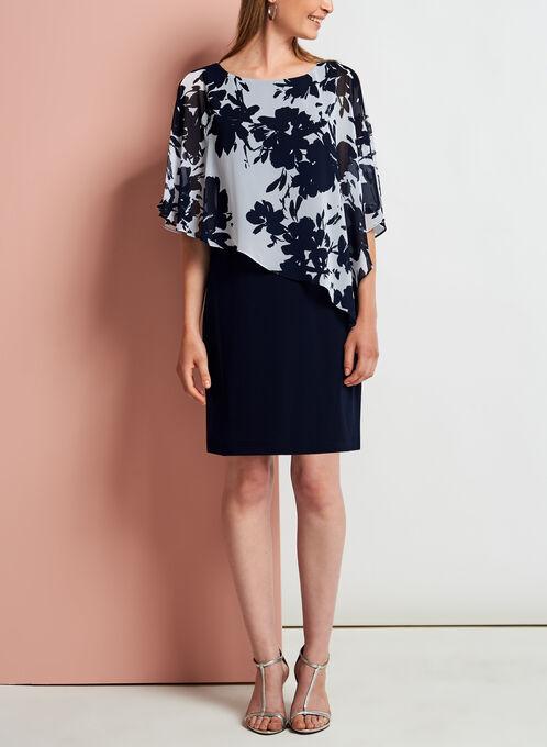 Floral Print Cold Shoulder Poncho Dress, Blue, hi-res