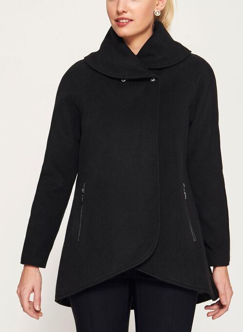 Wool-Like Shawl Neck Coat, Black, hi-res