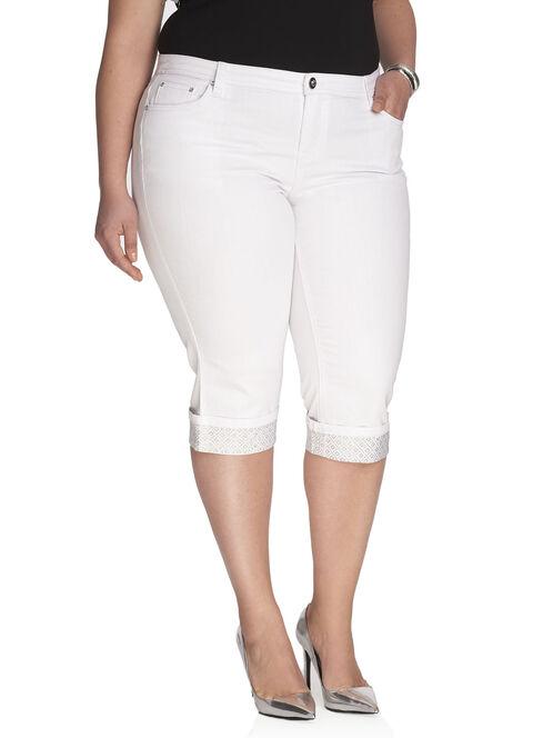 Cuffed Denim Capri Pants , White, hi-res