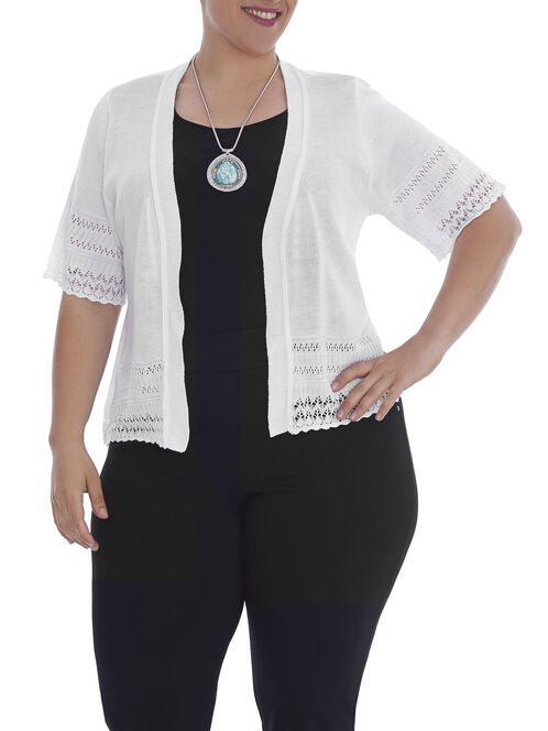 Elbow Sleeve Pointelle Cover Up, White, hi-res