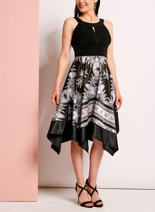 Cleo Neck Handkerchief Hem Dress, Black, hi-res