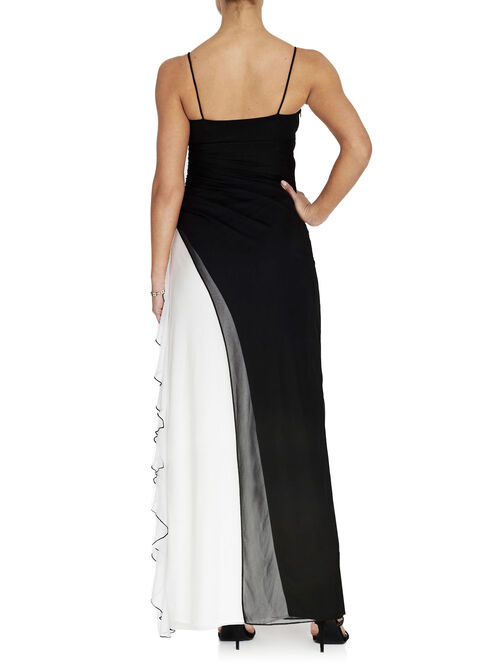 Two-Tone Ruffle Side Gown, Black, hi-res