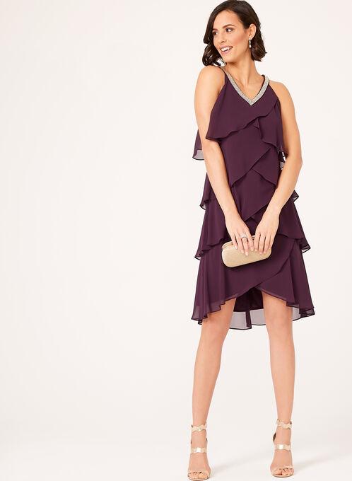 Tiered Beaded Neck Dress, Purple, hi-res