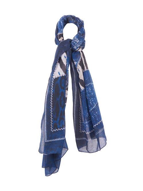 Patchwork Zebra Print Oblong Scarf, Blue, hi-res