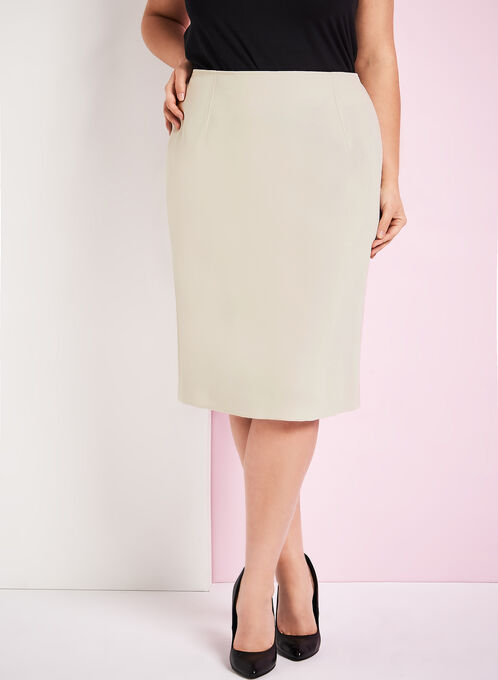 Louben - Pull-on Pencil Skirt, Off White, hi-res