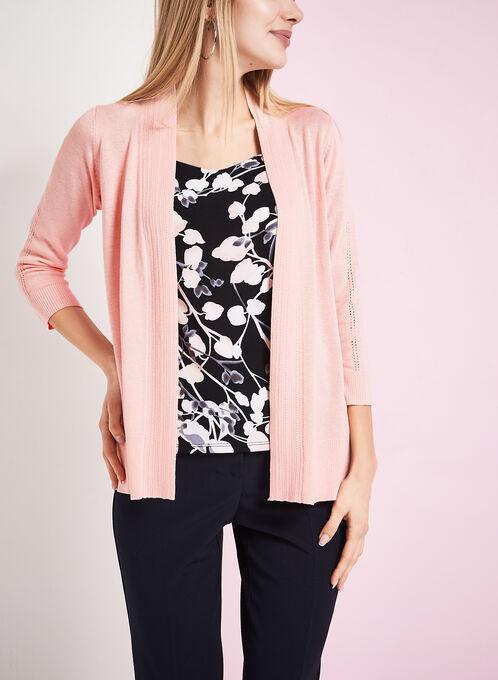 3/4 Sleeve Pointelle Knit Cardigan, Pink, hi-res
