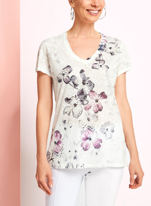 V-Neck Floral Print T-Shirt, Grey, hi-res