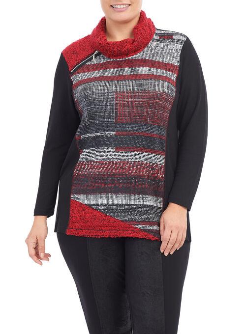 Bouclé Cowl Neck Sweater, Black, hi-res