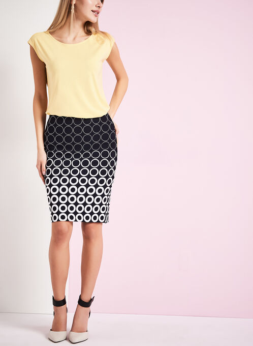 Dot Print Pencil Skirt , Blue, hi-res