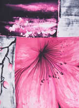 Floral Print Oblong Scarf, Pink, hi-res