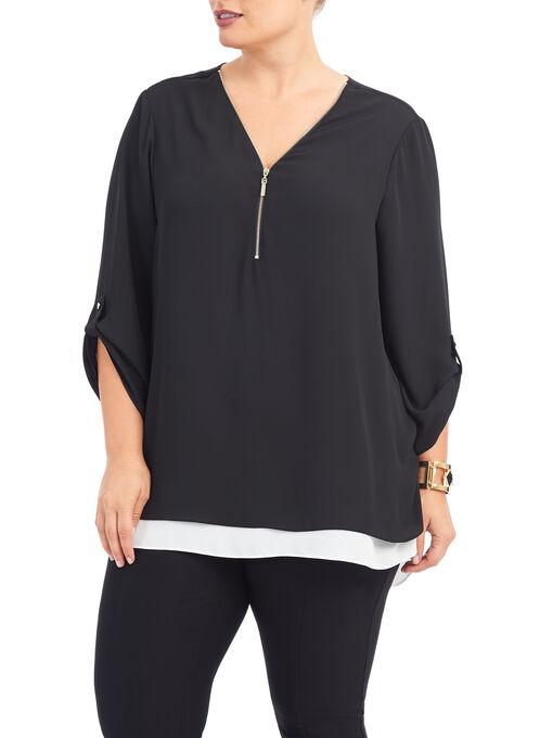 3/4 Sleeve Zipper Trim Blouse, Black, hi-res